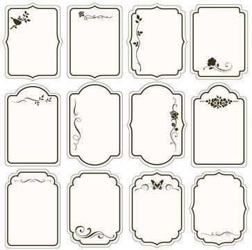 Vector set of decorative vintage tags, calligraphic floral frames, ornaments for scrapbook and wedding invitation design