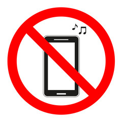 sign forbidden music in the phone on a white background