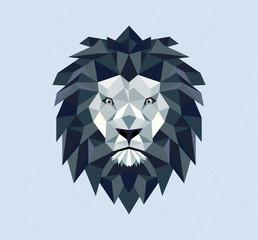 Polygonal geometric lion. Vector illustration. Blue color. T-shirt design and printing.