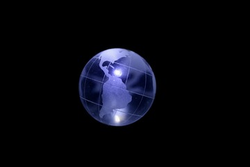 Globe 11 - Glowing Glass Earth in the middle of darkness