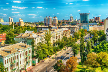 Wall Murals Kiev Kiev or Kiyv, Ukraine: aerial panoramic view of the city center in the summer