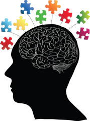 Human Brain with Jigsaw Puzzle for Think Idea Concept Vector Outline Sketched Up, Vector Illustration EPS 10.