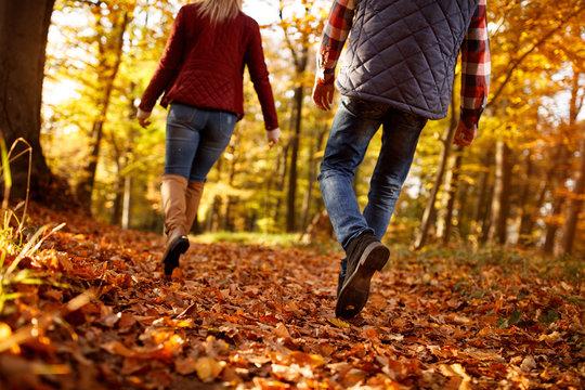 walk through park- love, travel, relationship concept.