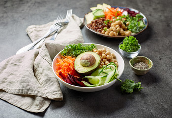 Breakfast vegan bowl and plate
