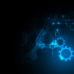 Abstract background trigonal and gear wheel element technology