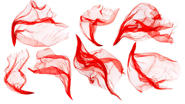 Fabric Cloth Flowing on Wind, Flying Blowing Red Silk, Isolated over White Background