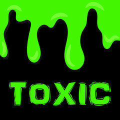 Green toxic liquid on dark background. Radioactive substance