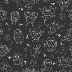 Seamless pattern with contour images of cartoon owls , white outline on a dark background