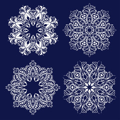 Set of openwork Christmas decorations. Laser cutting template. Collection of snowflakes for laser cutting.