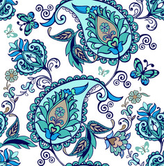 Oriental seamless paisley pattern. Floral wallpaper. Decorative ornament for fabric, textile, wrapping paper. Traditional oriental seamless paisley pattern.