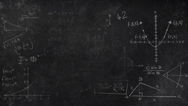 Black Chalkboard Texture with faded mathematical scribbles