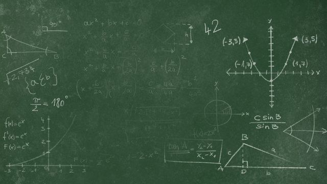 Green Chalkboard Texture with faded mathematical scribbles