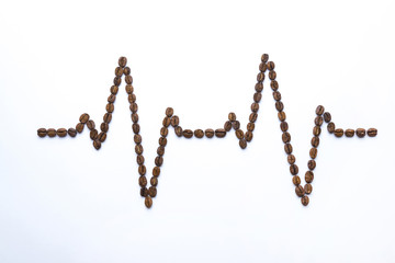 Cardiogram painted with coffee beans