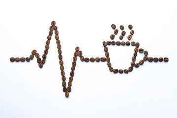 Poster Café en grains Cardiogram and cup drawn with coffee beans