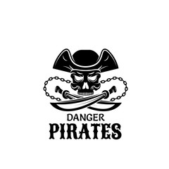 Pirate skull in captain hat with sword icon design