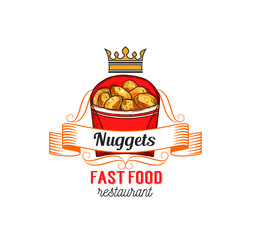 Fast food restaurant label with chicken nuggets