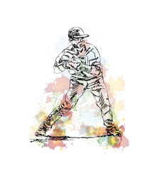 Watercolor sketch of Baseball Bowler player in vector illustration.