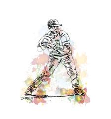 Watercolor sketch of Baseball Bowler player in vector illustration.