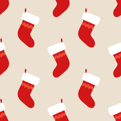 Christmas Stocking Seamless Pattern