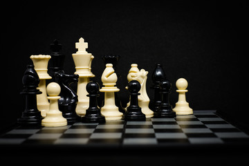 Chess (King, Queen, Horse, Bishop and Pawn) for background or texture - Business & Strategy Concept.