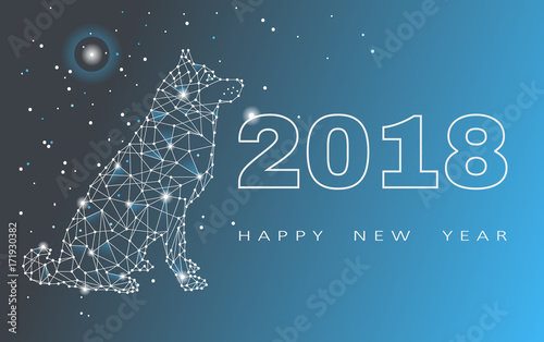 2018 Happy New Year greeting card. Celebration with Dog . 2018 ...