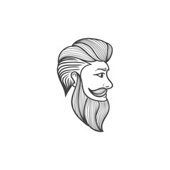 barber head illustration hand drawn vintage