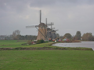 3 windmills in a row in Driemanspolder, the Netherlands