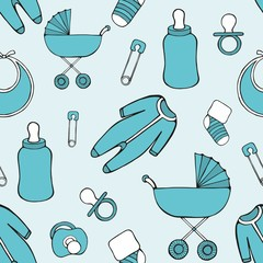 Cute vector seamless pattern with children's things for design and decoration