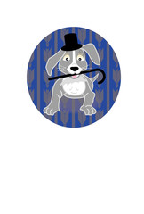 シルクハットをかぶりステッキを持った犬のイラスト