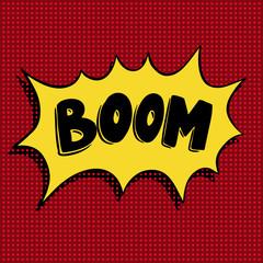 Boom. Hand drawn phrase in pop art style.