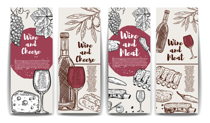 Wine, cheese, olives, meat banners. Wine and meat flyer templates.