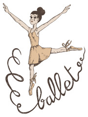 vector hand drawn illustration of a woman ballet dancer with ballet written in ribbon