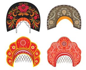 vector ethnic old russian kokoshniks collection