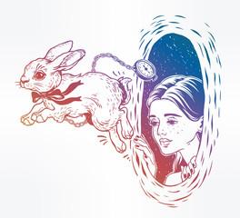 Alice in Wonderland. Chasing the white rabbit.