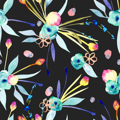 Seamless pattern with watercolor abstract yellow and blue flowers and plants, hand painted on a dark background
