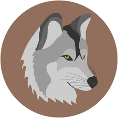 A wolf, a wolf's head