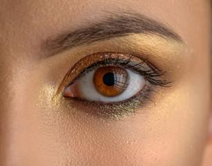 Beautiful female eye, golden makeup. Selective focus.