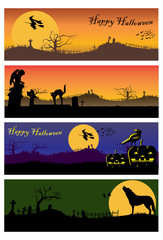 Halloween banners, Vector Illustration
