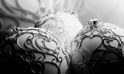 3 White Christmas Balls decorated with silver filigree 01