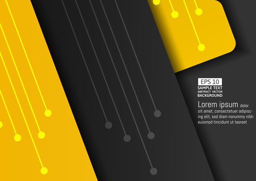 Yellow and dark abstract vector background