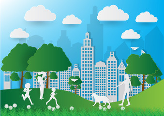 Paper art of people and pets on green background, ecology idea