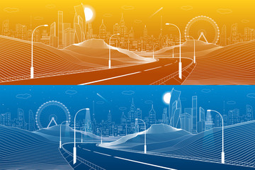 Illuminated highway in mountains. Infrastructure illustration. Modern city at background, tower and skyscrapers, business buildings, ferris wheel. Day and night scene. White lines. Vector design art