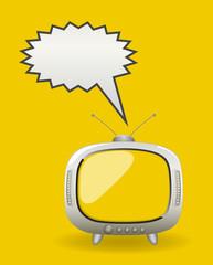Retro TV with Speech Bubble Vector