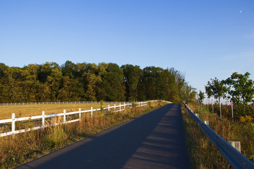 Asphalt road along pasture with white fence in the countryside. Typical rural farmland in Eastern Europe.