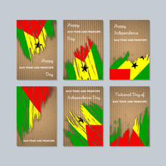 Sao Tome and Principe Patriotic Cards for National Day. Expressive Brush Stroke in National Flag Colors on kraft paper background. Sao Tome and Principe Patriotic Vector Greeting Card.