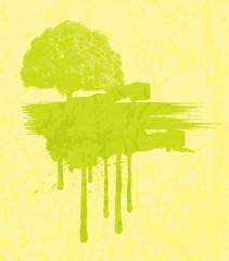Grunge Urban Tree Painting Banner - vector clip-art illustration