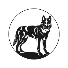 Logo in the shape of a dog, Picture of a cute dog. Dog. Vector illustration. Isolated on white background.