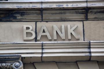 Bank Sign on Building Facade