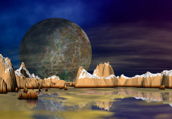 3D Rendering of a Fantasy Alien Planet - 3D Illustration