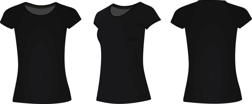Women classic black t shirt. vector illustration. front, side and back view